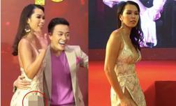 Siêu mẫu Hà Anh lộ vùng nhạy cảm khi diện váy xẻ tà táo bạo trên thảm đỏ toàn sao
