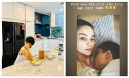 Hà Hồ là bà bầu 'sướng nhất quả đất': Con trai vào bếp nấu ăn cho, người yêu thì một bước không rời