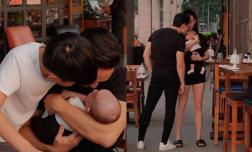 Kim Lý đúng chuẩn 'ông bố bỉm sữa', cuối tuần ra phố đi dạo vẫn không rời vợ con