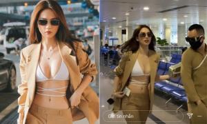 'Toát mồ hôi hột' với loạt khoảnh khắc Ngọc Trinh mặc vest lộ nội y ở sân bay