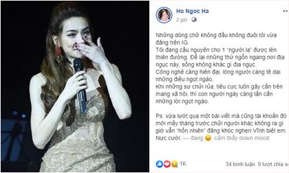 Hồ Ngọc Hà viết status tâm trạng giữa đêm khuya: 'Sống không khác gì địa ngục'