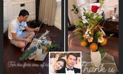 Lần đầu tiên trong đời, chồng doanh nhân tự tay cắm hoa tặng Á hậu Thanh Tú