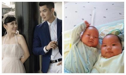 Hai quý tử song sinh tròn 3 tháng, Trương Nam Thành lần đầu khoe ảnh khiến ai cũng xuýt xoa vì quá bụ bẫm