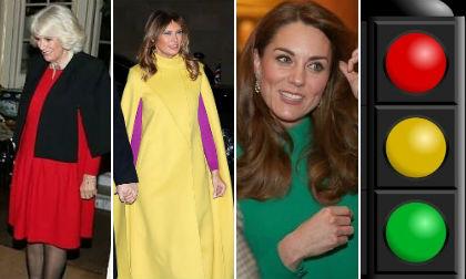 Dân mạng liên tưởng ra hình ảnh đèn giao thông khi nhìn Công nương Kate, bà Camilla và Đệ nhất phu nhân Mỹ tại sự kiện