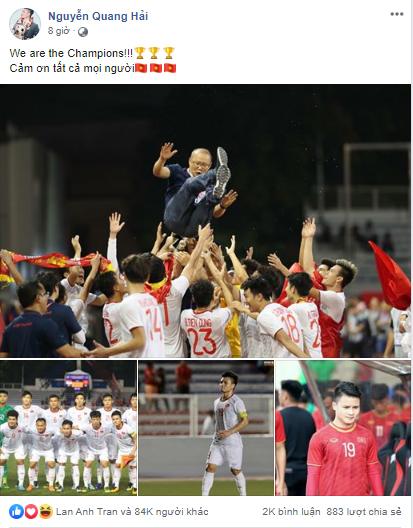 Dàn tuyển thủ U22 hạnh phúc vỡ òa, đồng loạt chia sẻ khi lần đầu tiên vô địch SEA Games 9