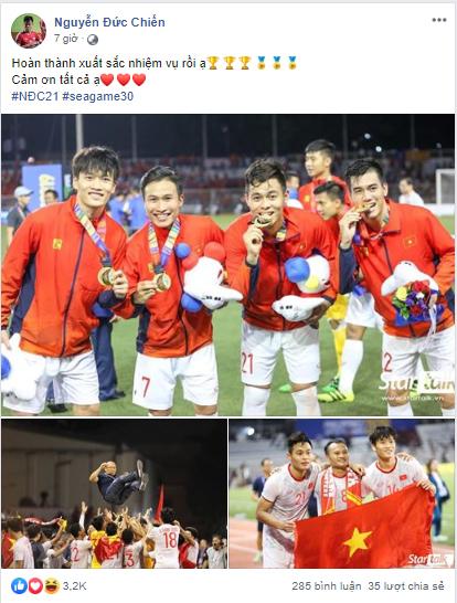 Dàn tuyển thủ U22 hạnh phúc vỡ òa, đồng loạt chia sẻ khi lần đầu tiên vô địch SEA Games 4