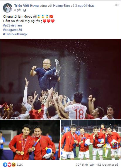Dàn tuyển thủ U22 hạnh phúc vỡ òa, đồng loạt chia sẻ khi lần đầu tiên vô địch SEA Games 3