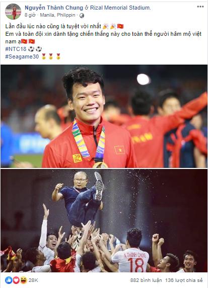 Dàn tuyển thủ U22 hạnh phúc vỡ òa, đồng loạt chia sẻ khi lần đầu tiên vô địch SEA Games 1