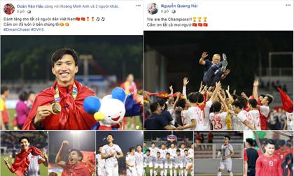 Dàn tuyển thủ U22 hạnh phúc vỡ òa, đồng loạt chia sẻ khi lần đầu tiên vô địch SEA Games