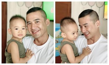 Thuý Diễm hào hứng khoe kiểu tóc 'dừa khô' của Lương Thế Thành và con trai trong dịp tết