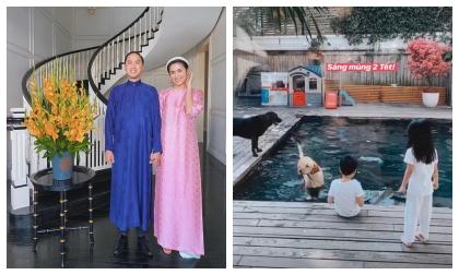 Mùng 2 Tết, Hà Tăng khoe khoảnh khắc 2 con chơi đùa với thú cưng trong biệt thự triệu đô