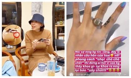 Tóc Tiên lần đầu hé lộ nhẫn cầu hôn của Hoàng Touliver với phong cách 'chọi chó chó chết'