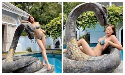 Kỳ Duyên diện bikini bé xíu khoe trọn vòng 1 căng tràn khiến fan 'nổ mắt'