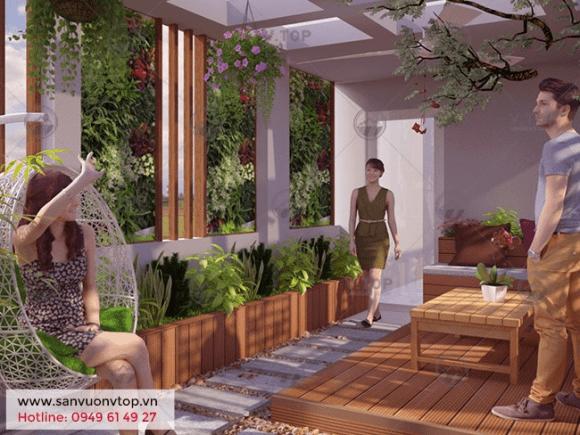 Sân vườn VTOP,  Vườn đứng, Không gian nhà
