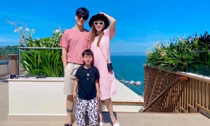 Bầu 7 tháng, Thu Thủy vẫn thon gọn xinh đẹp khi đi du lịch cùng chồng con