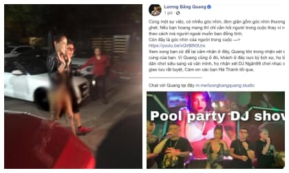 Lương Bằng Quang lên tiếng về loạt hình ảnh 'mặc như không mặc' của bạn gái Ngân 98