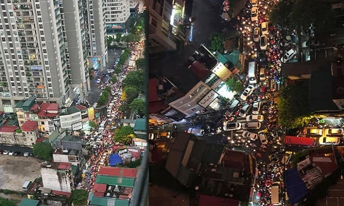 Hà Nội tắc đường kinh hoàng sau cơn mưa chiều, dân công sở than trời vì mãi chưa về đến nhà