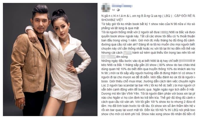 Lương Bằng Quang và Ngân 98 bị bầu show cũ tố ăn cháo đá bát, gọi thẳng là 'cặp đôi rẻ rách'
