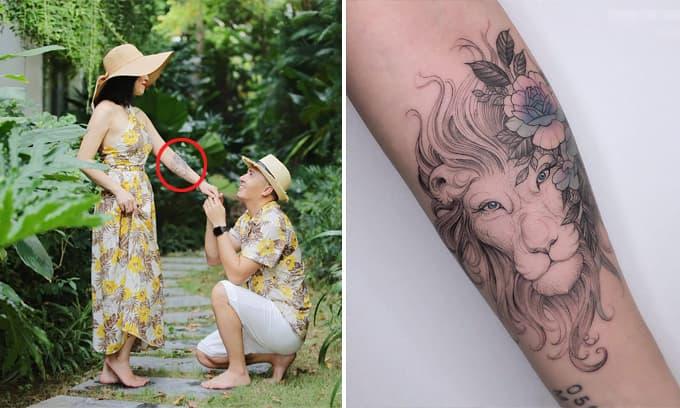 Sở hữu nhiều hình xăm, BTV Nguyễn Hoàng Linh tiếp tục xăm hình sư tử trên cánh tay