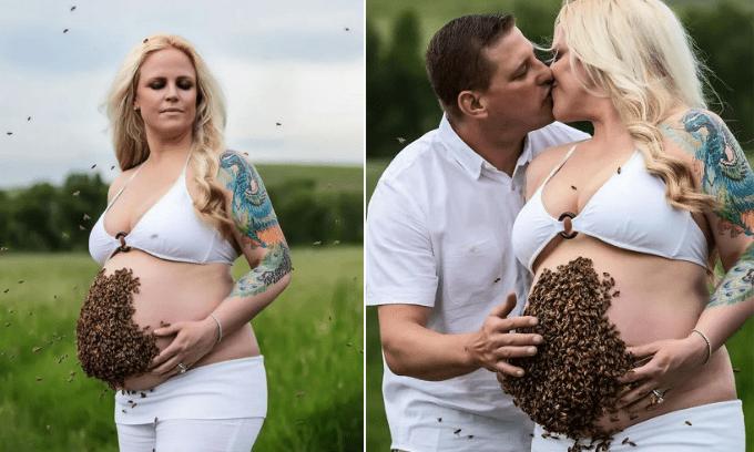 Mẹ bầu gây sốc với việc đặt 10.000 con ong lên bụng để 'tạo nét' khi chụp ảnh