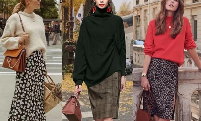 Cuối mùa thu mặc 'áo len + váy' là vua! Mỏng và ấm, rất thời trang!