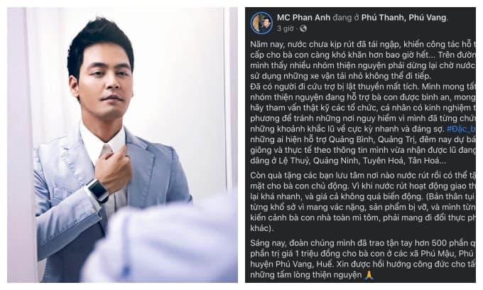 Liên tục bị réo tên là 'MC lũ' giữa lúc miền Trung khó khăn, MC Phan Anh đã có động thái đầu tiên