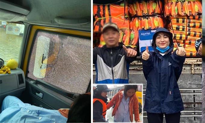 Hòa Minzy đưa một thai phụ đi cấp cứu trên đường cứu trợ, giải thích lý do gây hiểu lầm khiến xe bị ném đá