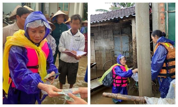 Mẹ Hà Hồ ngồi xuồng, lội nước cứu trợ người dân vùng lũ Quảng Trị thay con gái
