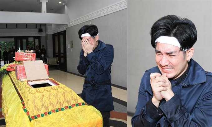 Ca sĩ Quang Hà đau đớn 'khóc nấc' trong tang lễ anh trai