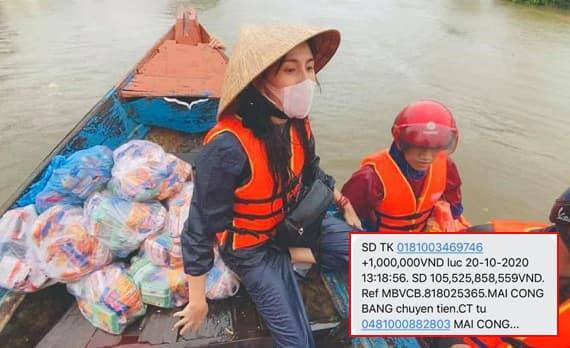 Số tiền gửi vào tài khoản Thủy Tiên vượt mốc hơn 105 tỷ sau một tuần kêu gọi ủng hộ miền Trung