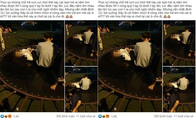 Đôi nam nữ chiếm thảm nhún ở khu vui chơi trẻ em trong công viên để diễn 'cảnh nóng'