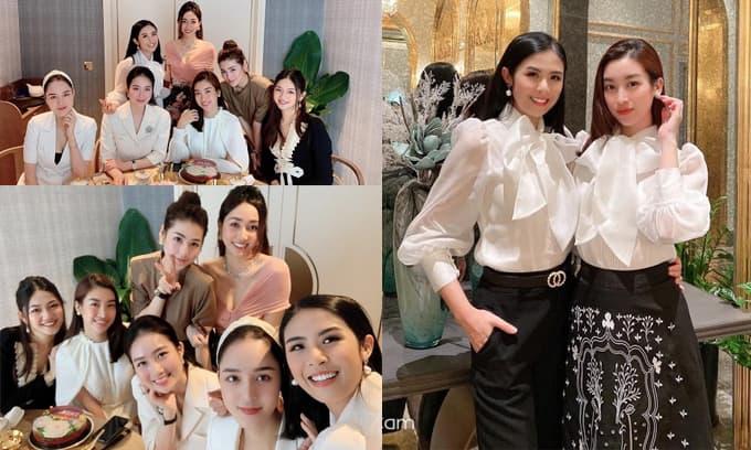 Hội bạn Hoa hậu ăn mừng sinh nhật Đỗ Mỹ Linh, Ngọc Hân đích thân làm bánh và diện áo đôi với đàn em