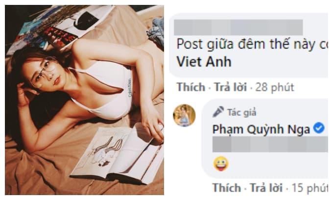 Quỳnh Nga đăng ảnh diện nội y với vòng một nhức mắt, Việt Anh lập tức bị réo tên