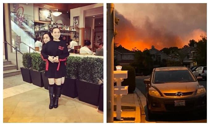 Phi Nhung lo lắng khi nhà gần nơi con gái ở tại Mỹ đang bốc cháy