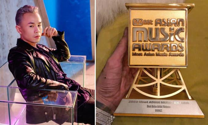Binz bất ngờ khoe cúp đoạt giải Best Asian Artist Vietnam tại MAMA 2020
