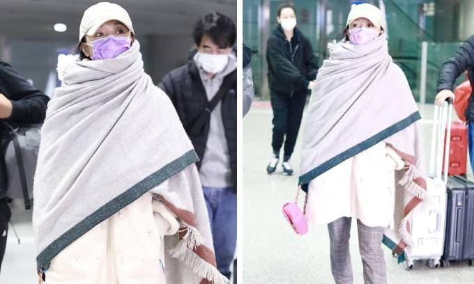 Châu Tấn bị nhận xét chẳng khác nào kẻ hành khất khi xuất hiện ở sân bay