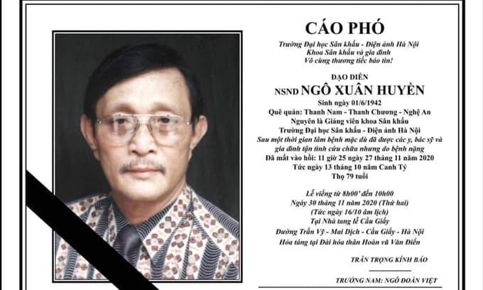 Đạo diễn, NSND Xuân Huyền qua đời, hưởng thọ 79 tuổi