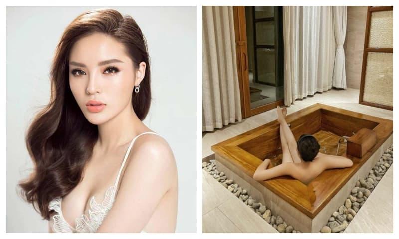Hoa hậu Kỳ Duyên đốt mắt với ảnh tắm lộ thiên bán nude