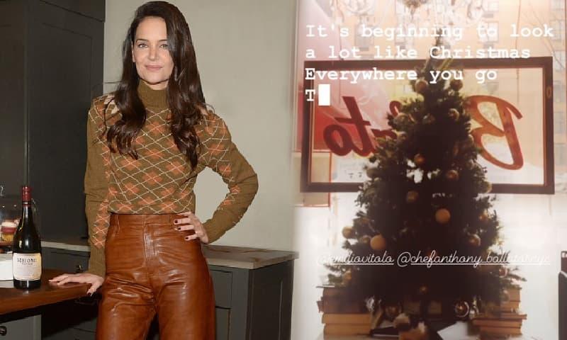Katie Holmes lên đồ xinh đẹp đến chỗ bồ trẻ chuẩn bị Giáng sinh, còn trổ tài nấu nướng đúng chuẩn 'vợ đảm'