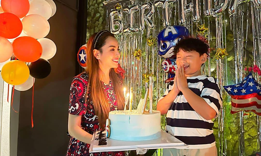 Diễm Hương tổ chức sinh nhật cho con trai, tiếp tục vắng bóng chồng