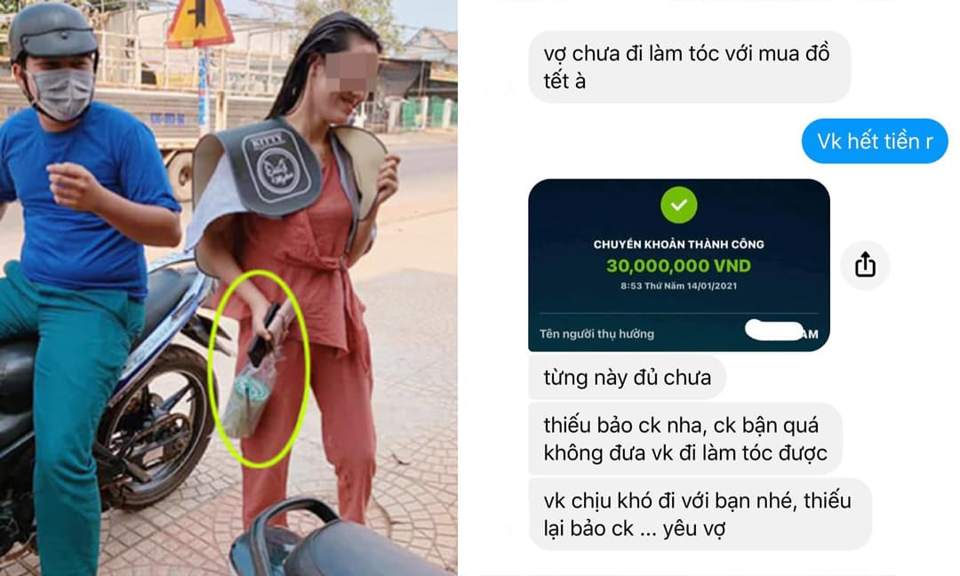 Góc chồng nhà người ta: Người chuyển 30 triệu cho bà xã đi làm tóc; kẻ xông nách cho vợ sau sinh