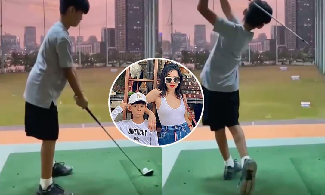 Con trai Lệ Quyên mới 9 tuổi đã đánh golf cực chuyên nghiệp, nhưng chiều cao vượt trội mới đáng chú ý!