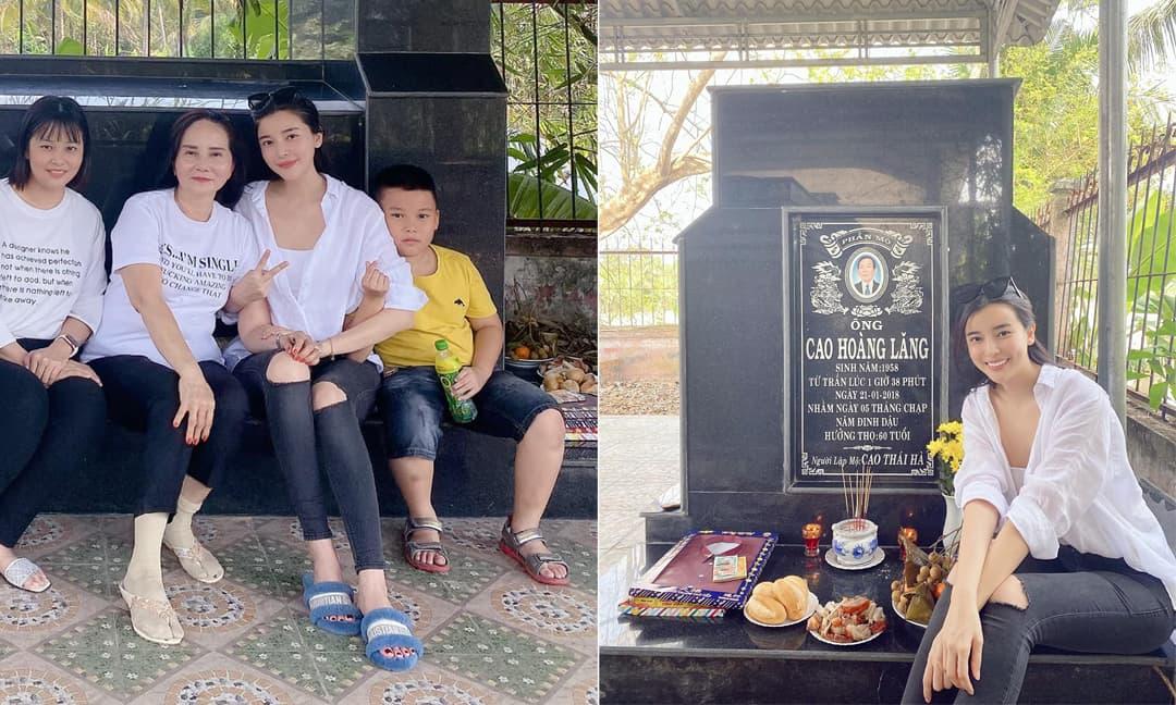 Cao Thái Hà cùng mẹ và em về thăm viếng mộ ba, đồng nghiệp gửi lời động viên