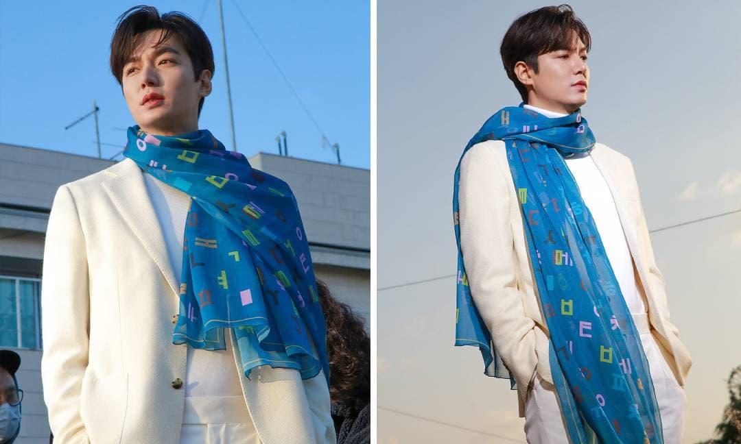 Lấy lại phong độ nhan sắc nhưng Lee Min Ho gây khó hiểu vì đeo chiếc khăn chẳng khác nào tấm rèm cửa