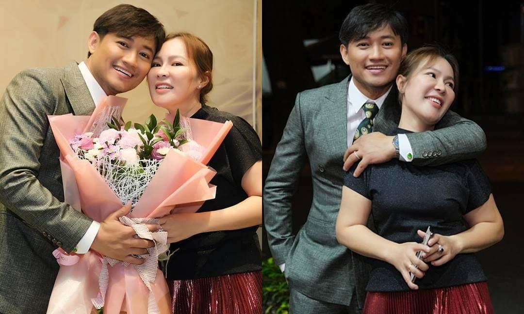 Sau hơn 1 tháng làm đám cưới, bà xã doanh nhân 'tháp tùng' nam diễn viên Quý Bình đi diễn