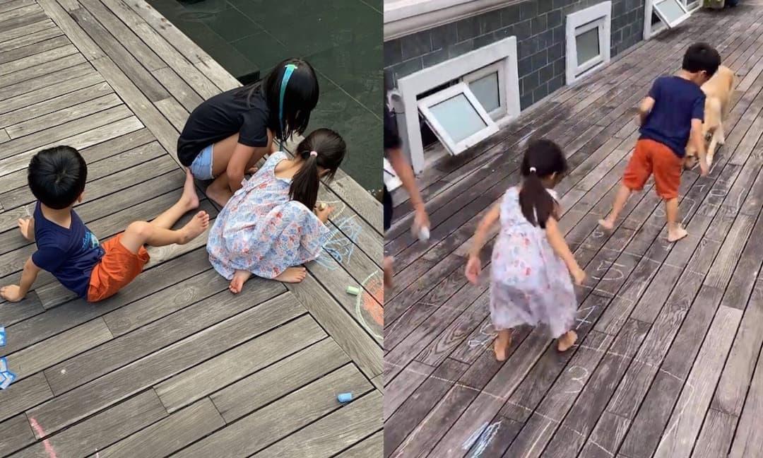 Vừa sinh ra đã 'ngậm thìa vàng', các con của Hà Tăng vẫn thích chơi trò chơi dân gian này