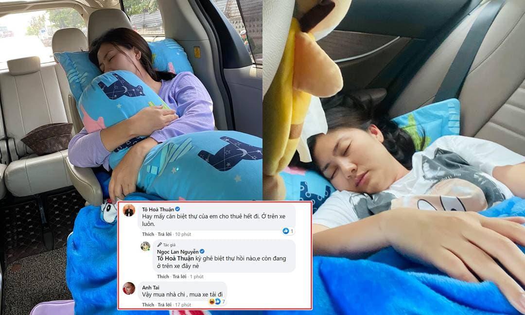 Ngọc Lan khoe loạt khoảnh khắc ngủ trên xe, sao Việt 'trêu chọc' cực hài