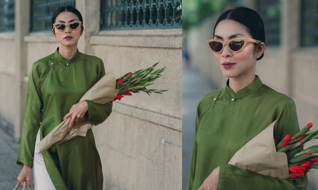Tăng Thanh Hà hóa 'cô Thắm' khi diện áo dài đi chợ sắm Tết