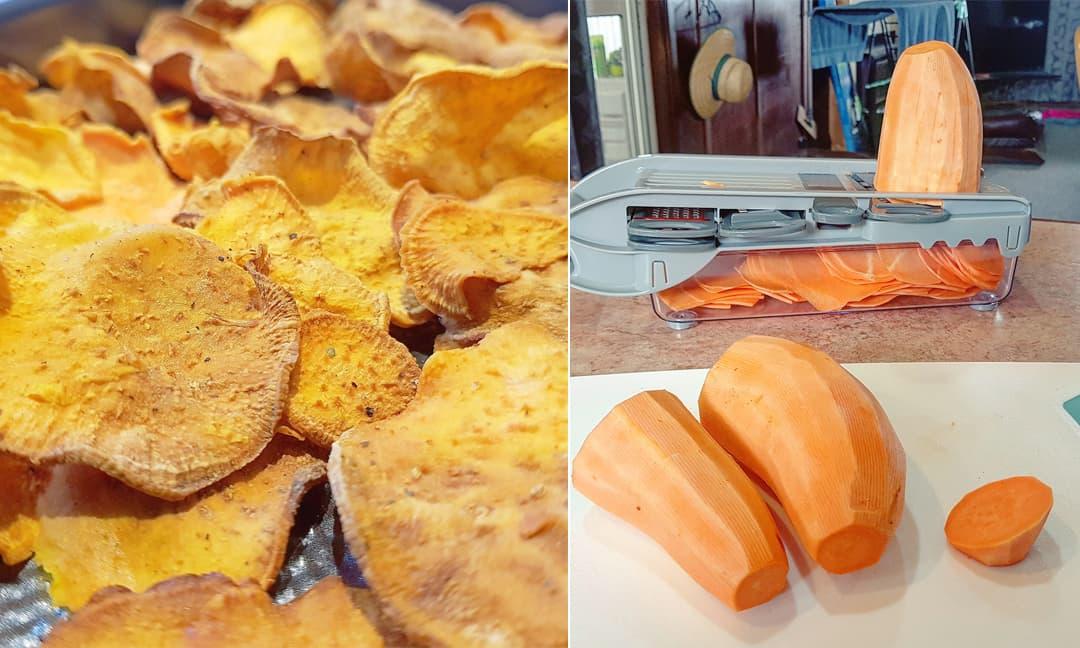 Mẹo làm bim bim khoai lang bằng nồi chiên không dầu, đảm bảo món ăn giòn ngon, không bị đắng