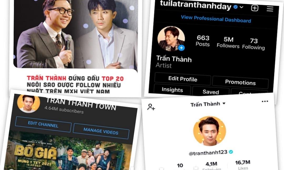 Trấn Thành 'khoe' lượt follow nườm nượp trên Tiktok, Youtube và Instagram: Xứng danh 'Ông hoàng mạng xã hội'